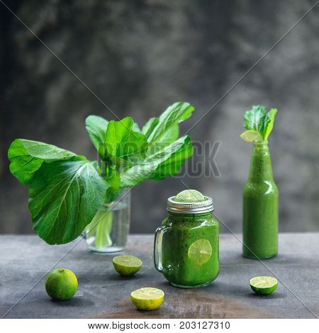 Healthy Lifestyle Concept: Bright Recipe Idea For Breakfast Or Snack. Still Life Of Green Banana Spi
