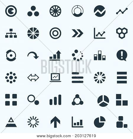 Elements Part, Ejaculation, Line Bar And Other Synonyms Economy, Multiple And Fluctuation.  Vector Illustration Set Of Simple  Icons.
