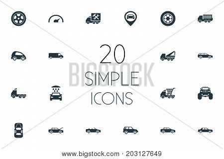 Elements Repairing Service, 4X4, Speed And Other Synonyms Pumping, Location And Cabriolet.  Vector Illustration Set Of Simple Auto Icons.