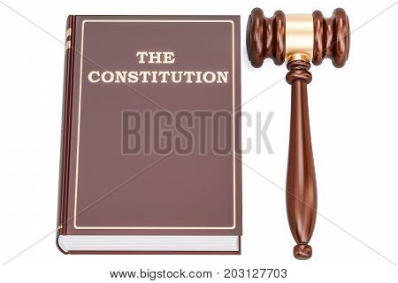 constitution book with gavel 3D rendering isolated on white background