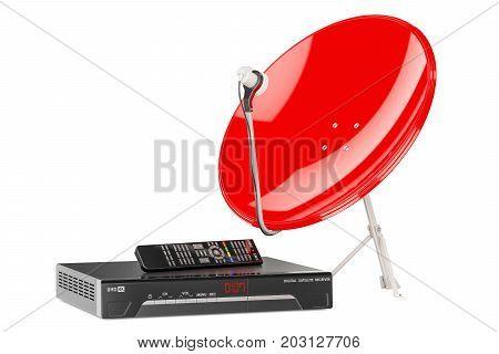 Digital satellite receiver with satellite dish. 3D rendering