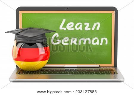 Learn German concept with laptop blackboard and graduation cap 3D rendering