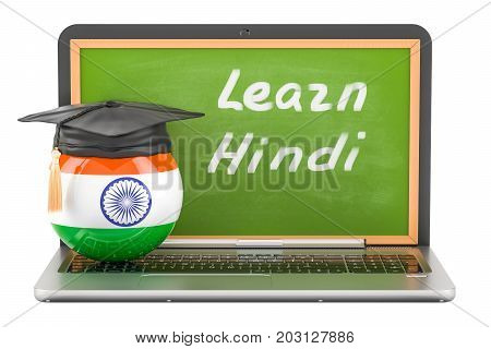 Learn Hindi concept with laptop blackboard and graduation cap 3D rendering