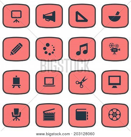 Elements Meal, Display, Action And Other Synonyms Illustration, Action And Ruler.  Vector Illustration Set Of Simple Design Icons.
