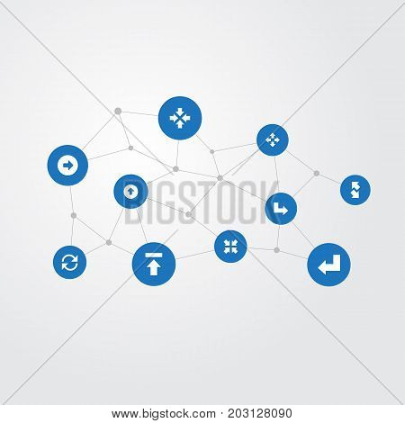 Elements Enlarge, Raising-Falling, Interior And Other Synonyms Left, Slanted And Inside.  Vector Illustration Set Of Simple Cursor Icons.
