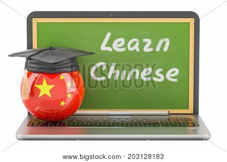 Learn Chinese concept with laptop blackboard and graduation cap 3D rendering