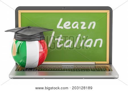 Learn Italian concept with laptop blackboard and graduation cap 3D rendering