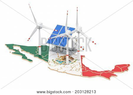 Renewable energy and sustainable development in Mexico concept. 3D rendering isolated on white background