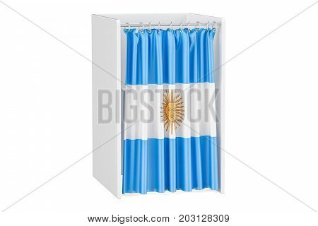 Vote in Argentina concept voting booth with Argentine flag 3D rendering isolated on white background