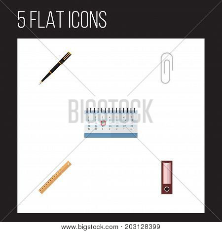 Flat Icon Tool Set Of Nib Pen, Fastener Page, Dossier And Other Vector Objects