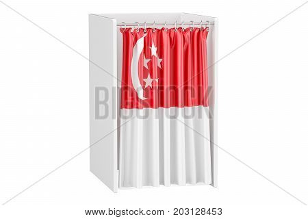 Vote in Singapore concept voting booth with flag 3D rendering isolated on white background