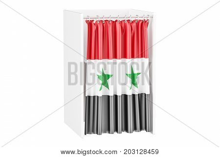 Vote in Syria concept voting booth with Syrian flag 3D rendering isolated on white background