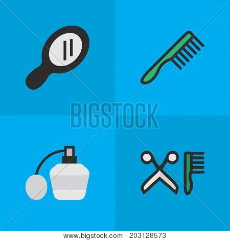 Elements Comb, Glass, Hairbrush And Other Synonyms Perfume, Hairbrush And Comb.  Vector Illustration Set Of Simple Shop Icons.