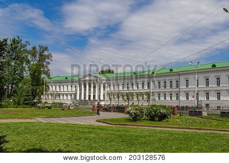 POLTAVA, UKRAINE - May 15, 2017: Poltava City Council. One of the eight buildings of the architectural ensemble of the Round Square, made in the style of classicism