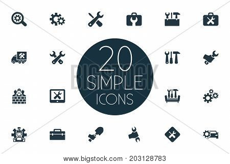 Elements Handbag, Tools, Fixing Synonyms Service, Repair And Fix.  Vector Illustration Set Of Simple Fixing Icons.