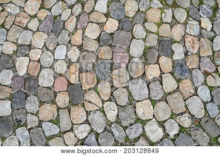 cobblestone pavement with variety of rocks design