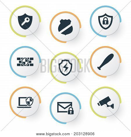 Elements Under Protection, Surveillance, Guard And Other Synonyms Protection, Camera And Security.  Vector Illustration Set Of Simple Protection Icons.