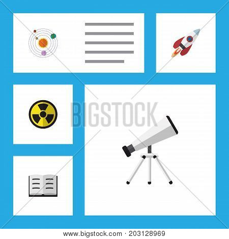 Flat Icon Knowledge Set Of Lecture, Irradiation, Spaceship And Other Vector Objects