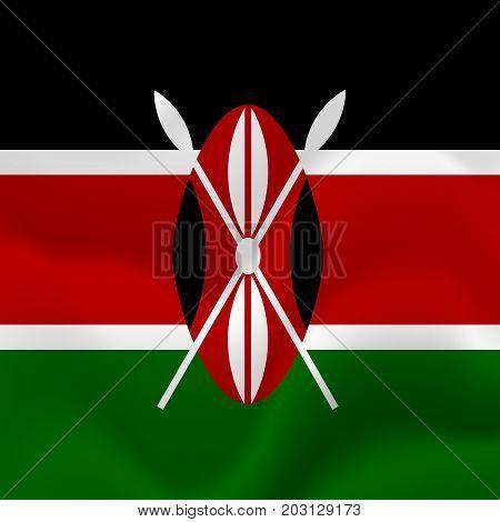 Kenya waving flag. Waving flag. Vector illustration.