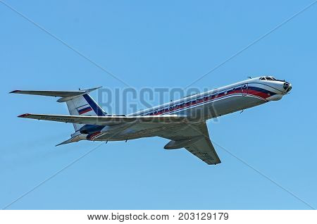 MOSCOW, RUSSIA - SEPTEMBER 3, 2017 Tupolev Tu-134 airline taking off