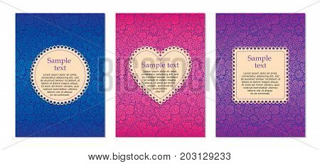 Set of 3 card design templates. Ornate floral background of blue magenta and purple colors and decorative frames with in a shape of circle heart and square. For invitations and gift cards