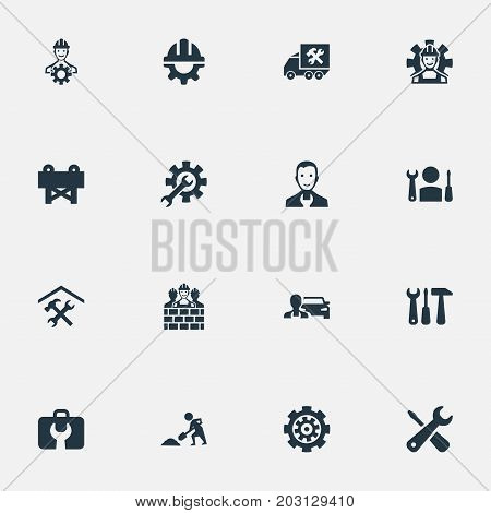 Elements Mending, Equipments, Specialist And Other Synonyms Garage, Workshop And Barrier.  Vector Illustration Set Of Simple Fixing Icons.