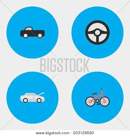 Elements Truck, Steering, Recycle And Other Synonyms Suv, Bike And Automobile.  Vector Illustration Set Of Simple Transportation Icons.