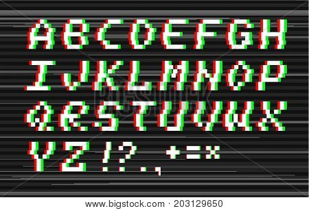 Vector glitch pixel 8bit style alphabet. Latin letters and punctuation symbols
