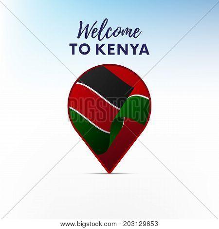Flag of Kenya in shape of map pointer or marker. Welcome to Kenya. Vector illustration.