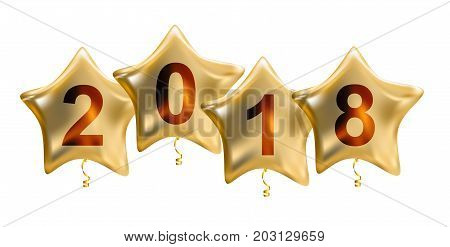 2018 New Year Colour Glossy Helium Balloons Isolated on White Background. Vector Illustration EPS10