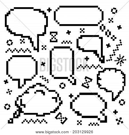 Vector icons set with pixel art 8 bit speech bubbles amd message boxes and decor elements on white background. Concept of game communication.