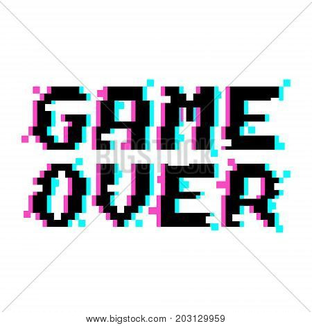 Vector game over phrase in pixel art style with glitch VHS effect. Three color half-shifted letters. Ocassional pixels around.