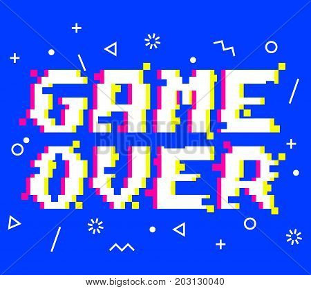 Vector game over phrase in pixel art 8 bit style with glitch VHS effect. Three color half-shifted letters. Ocassional pixels and memphis style pattern elements around