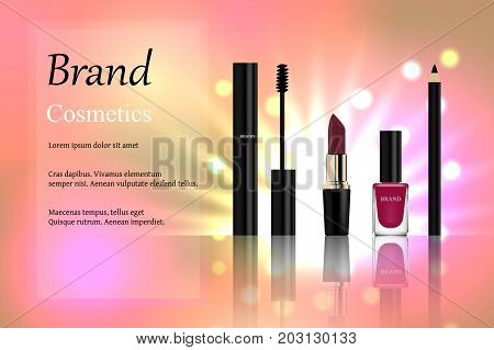 Design of cosmetics, a set of mascara with a golden cap, pink lipstick lipstick, eyeliner and nail polish on a light background with bright highlights. Advertisement, banner, 3d vector realistic