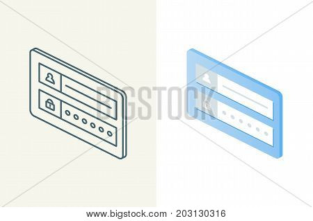 Login form isometric linear and flat icons