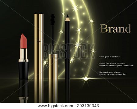 The design of cosmetics, a set of gold mascara with a brush, a pink lipstick, an eyeliner on a dark background with bright golden rays and stars. Advertisement, banner, 3d vector realistic