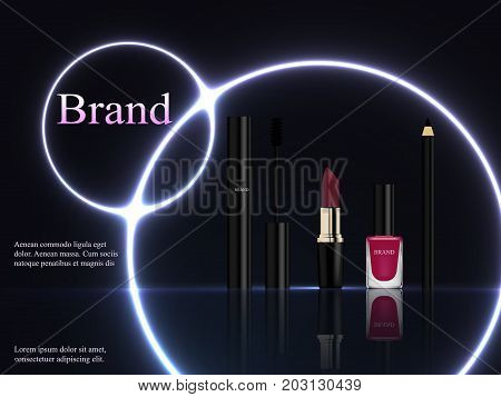 Design of cosmetics, a set of black mascara with a brush, a pink lipstick lipstick, eyeliner and nail polish on a dark background with a bright neon purple light, circles. Advertisement, banner