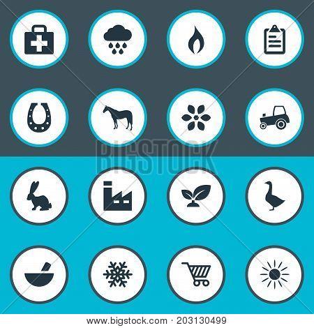 Elements Luck Talisman, Manufacture, Poultry And Other Synonyms Goose, Horseshoe And Soil.  Vector Illustration Set Of Simple Harvest Icons.
