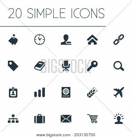 Elements Piggy, Remove, Airplane And Other Synonyms Cipher, Passport And Key.  Vector Illustration Set Of Simple B2B Icons.