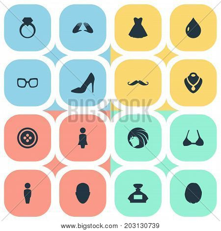 Elements Heirdressing, Tailor, Jewel And Other Synonyms Mustaches, Fashion And Water.  Vector Illustration Set Of Simple Glamour Icons.