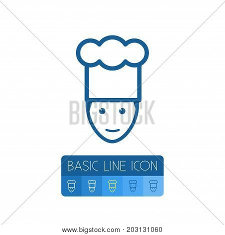 Chef Vector Element Can Be Used For Chef, Cook, Gastronomy Design Concept.  Isolated Cook Outline.