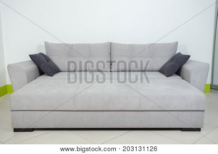 gray sofa on white background decomposed, with pillows