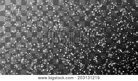 vector realistic falling snowflakes or snow on transparent background. Christmas design pattern