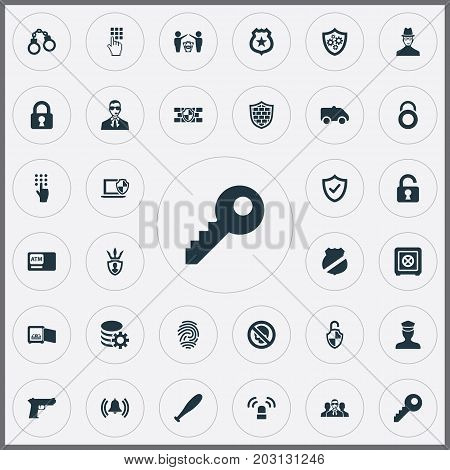 Elements Padlock, Siren, Automatic Teller Machine And Other Synonyms Siren, Shield And Machine.  Vector Illustration Set Of Simple Safety Icons.