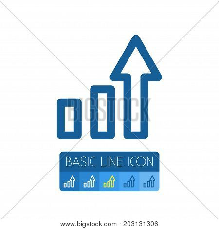 Growing Vector Element Can Be Used For Line, Graph, Growing Design Concept.  Isolated Line Graph Outline.