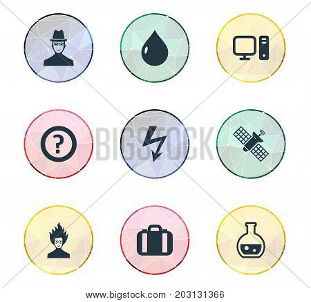 Elements Mad Scientist, Pharmacology, Researcher And Other Synonyms Scientist, Satellite And Researcher.  Vector Illustration Set Of Simple Study Icons.