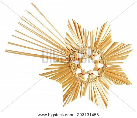 Christmas star made from straws isolated on white background
