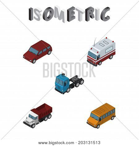 Isometric Automobile Set Of Car, First-Aid, Autobus And Other Vector Objects