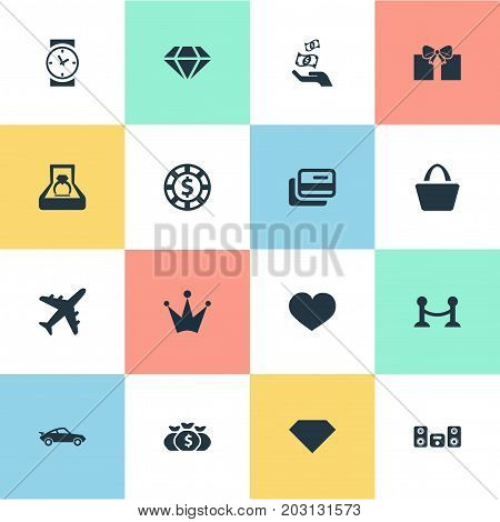 Elements Clock, Satchel, Chip And Other Synonyms Car, Money And Soul.  Vector Illustration Set Of Simple Money Icons.