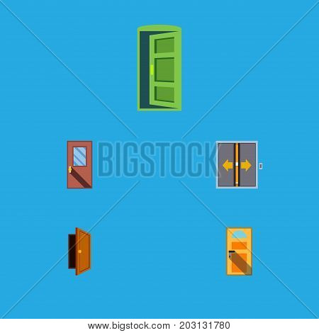 Flat Icon Door Set Of Entry, Lobby, Frame And Other Vector Objects